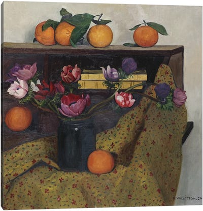 Anemones and Oranges, 1924  Canvas Art Print