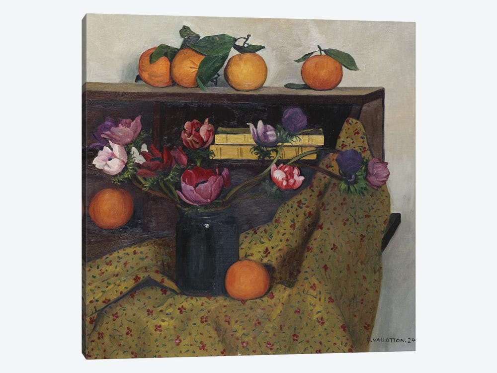 Anemones and Oranges, 1924  by Felix Edouard Vallotton 1-piece Canvas Art Print