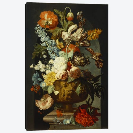 Tulips, Roses, Hyacinth, Auricula and other Flowers in a Sculpted Urn on a Stone Pedestal in a Niche.  Canvas Print #BMN5271} by Jan van Huysum Canvas Art