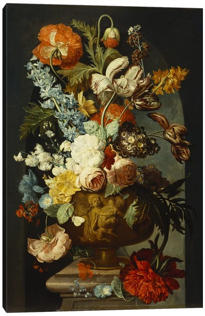 Tulips, Roses, Hyacinth, Auricula and other Flowers in a Sculpted Urn on a Stone Pedestal in a Niche.  Canvas Art Print