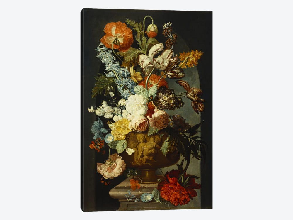 Tulips, Roses, Hyacinth, Auricula and other Flowers in a Sculpted Urn on a Stone Pedestal in a Niche.  by Jan van Huysum 1-piece Canvas Wall Art