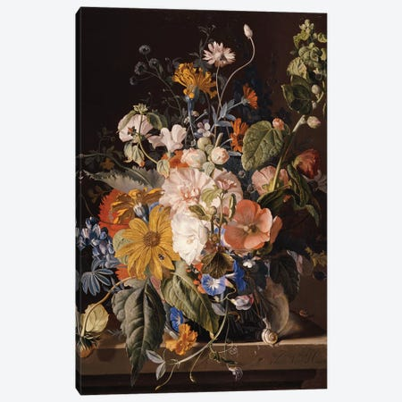 Poppies, Hollyhock, Morning Glory, Viola, Daisies, Sweet Pea, Marigolds and other Flowers in a Vase with a Snail on a Ledge  Canvas Print #BMN5272} by Jan van Huysum Canvas Artwork