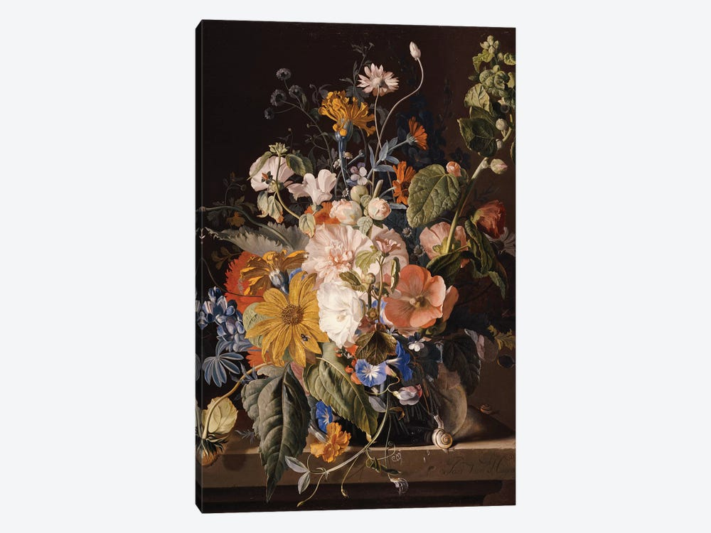 Poppies, Hollyhock, Morning Glory, Viola, Daisies, Sweet Pea, Marigolds and other Flowers in a Vase with a Snail on a Ledge  by Jan van Huysum 1-piece Canvas Print
