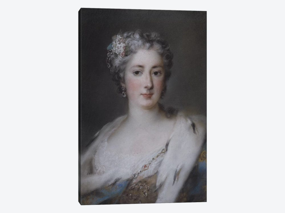Portrait of a lady in an ermine-trimmed robe  by Rosalba Giovanna Carriera 1-piece Canvas Art Print