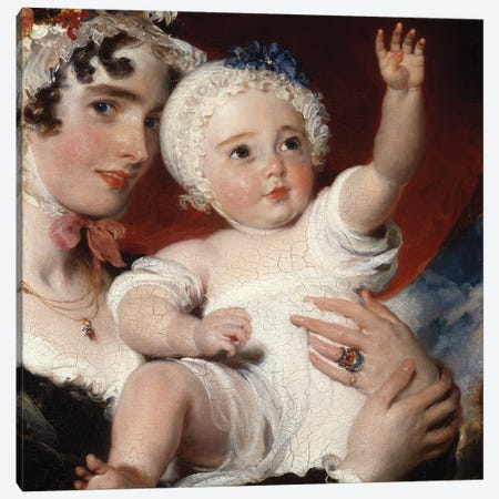Priscilla, Lady Burghesh, holding her son, the Hon. George Fane, 1820  Canvas Print #BMN5278} by Sir Thomas Lawrence Canvas Artwork