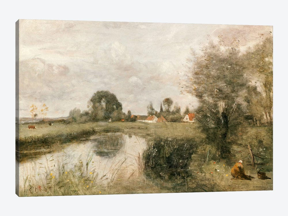 View of Arleux from the Marshes of Palluel, 1873  by Jean-Baptiste-Camille Corot 1-piece Art Print