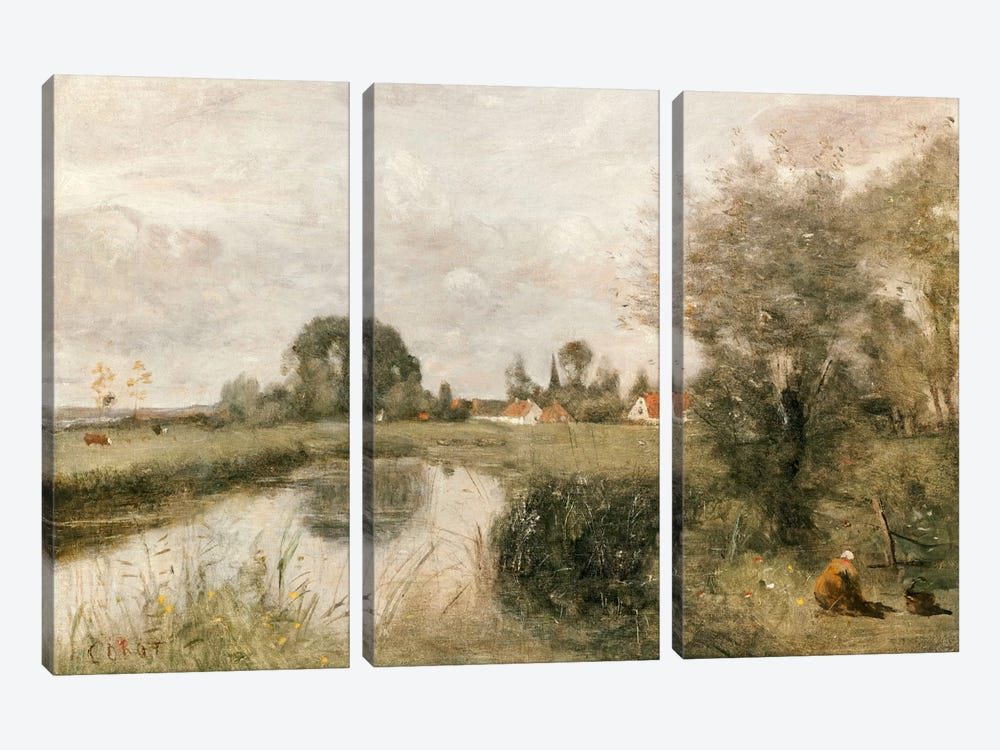 View of Arleux from the Marshes of Palluel, 1873  by Jean-Baptiste-Camille Corot 3-piece Art Print