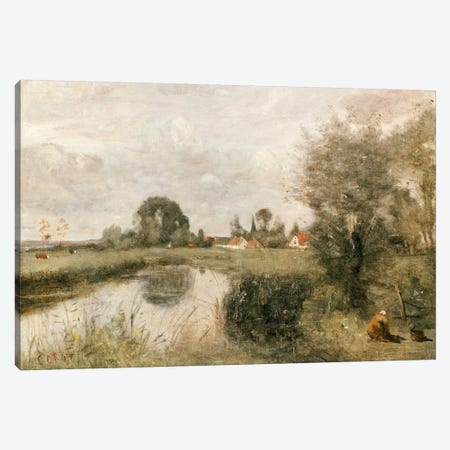 View of Arleux from the Marshes of Palluel, 1873  Canvas Print #BMN5281} by Jean-Baptiste-Camille Corot Art Print