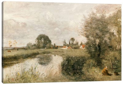 View of Arleux from the Marshes of Palluel, 1873  Canvas Art Print
