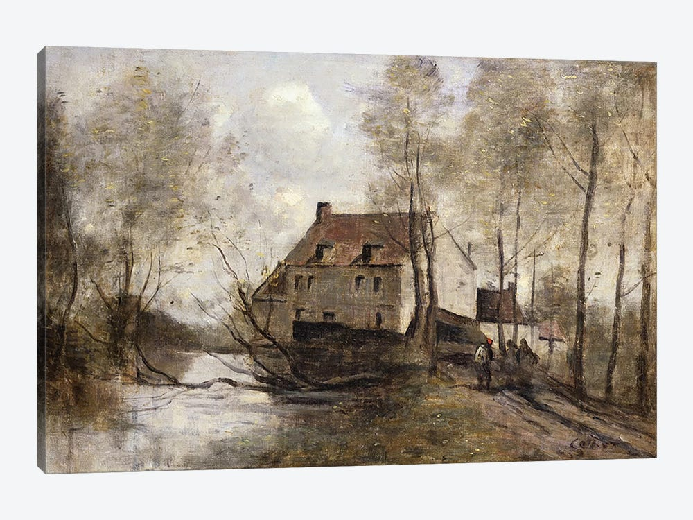 Le Moulin Brule, Planque, near Douai  by Jean-Baptiste-Camille Corot 1-piece Canvas Artwork