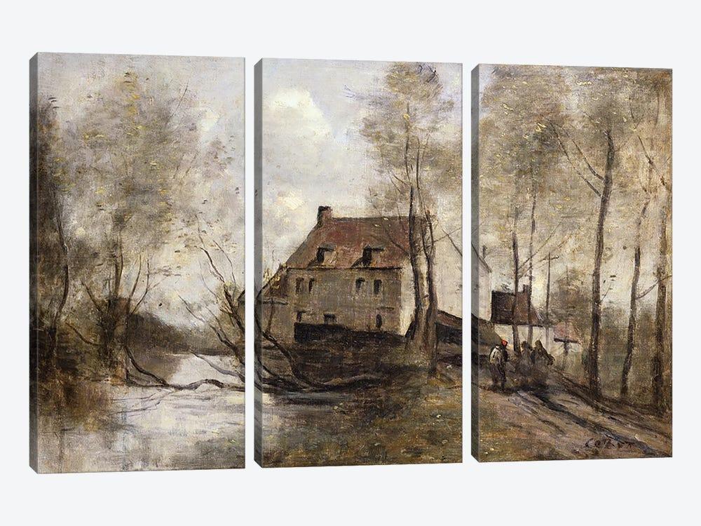 Le Moulin Brule, Planque, near Douai  by Jean-Baptiste-Camille Corot 3-piece Canvas Art