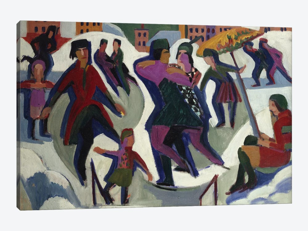 Ice Skating Rink with Skaters, 1925  by Ernst Ludwig Kirchner 1-piece Canvas Wall Art