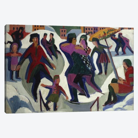 Ice Skating Rink with Skaters, 1925  Canvas Print #BMN5284} by Ernst Ludwig Kirchner Canvas Wall Art
