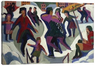 Ice Skating Rink with Skaters, 1925  Canvas Art Print