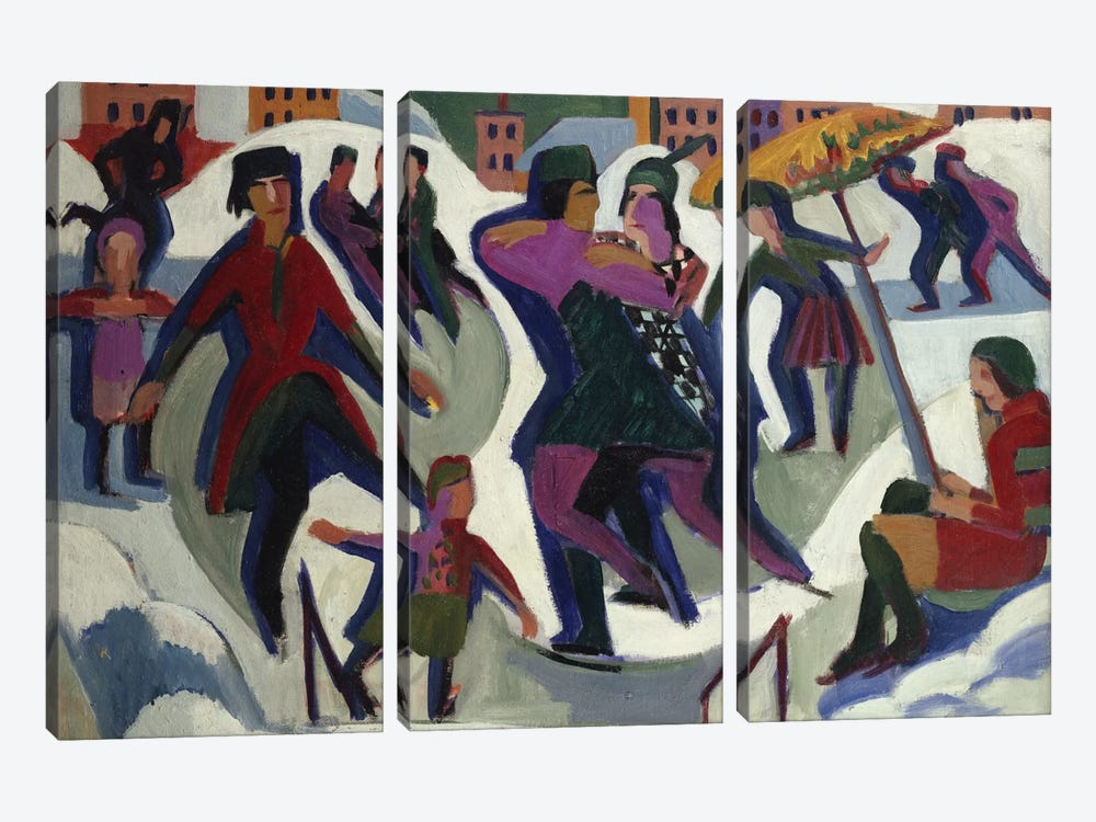 Ice Skating Rink with Skaters, 1925  by Ernst Ludwig Kirchner 3-piece Canvas Wall Art