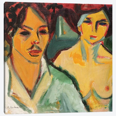 Self Portrait with Model, 1905  Canvas Print #BMN5286} by Ernst Ludwig Kirchner Canvas Artwork