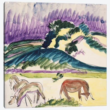 Cows in the Pasture by the Dunes, 1913  Canvas Print #BMN5288} by Ernst Ludwig Kirchner Art Print