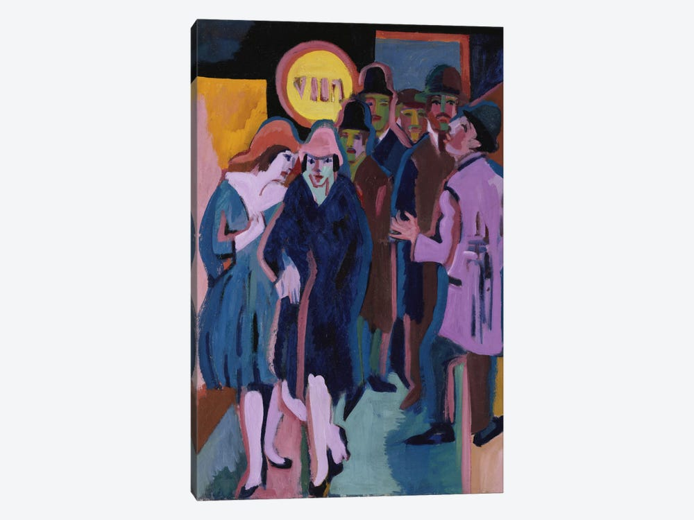 A Night-time Street Scene, 1925 by Ernst Ludwig Kirchner 1-piece Canvas Print
