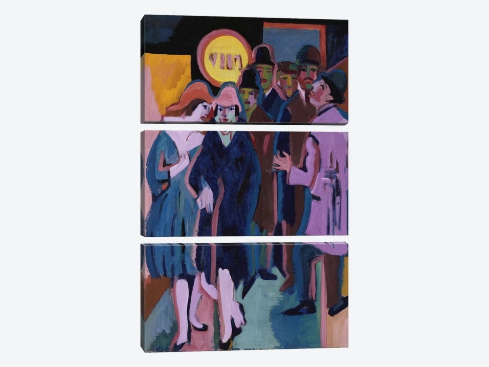 A Night-time Street Scene, 1925 by Ernst Ludwig Kirchner 3-piece Art Print