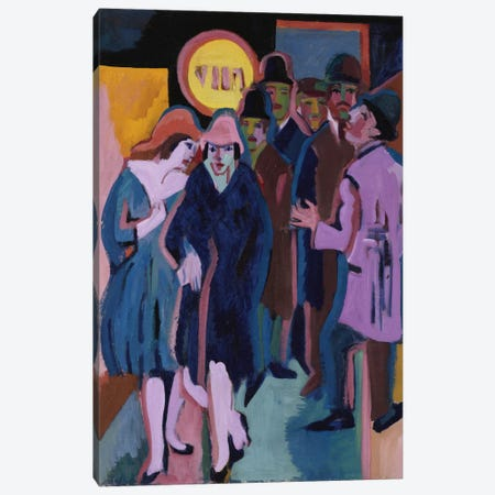 A Night-time Street Scene, 1925  Canvas Print #BMN5289} by Ernst Ludwig Kirchner Art Print