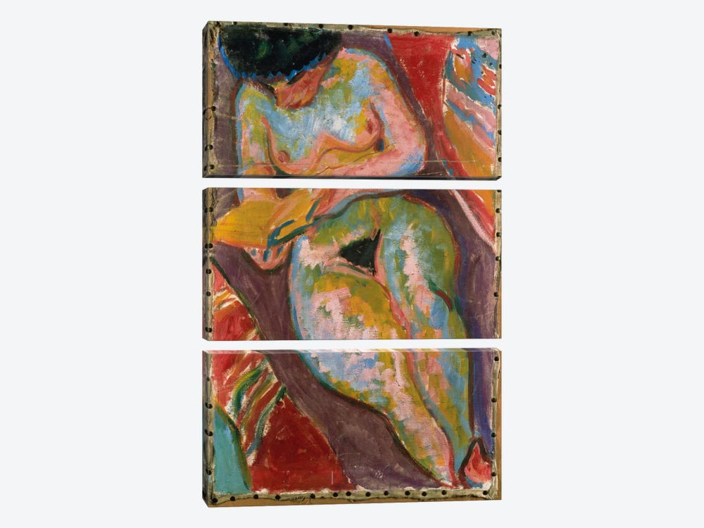 Female Nude  by Ernst Ludwig Kirchner 3-piece Canvas Print