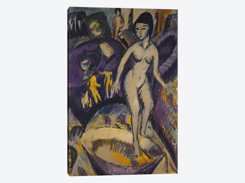 Female Nude with Hot Tub, 1912  by Ernst Ludwig Kirchner 1-piece Canvas Wall Art