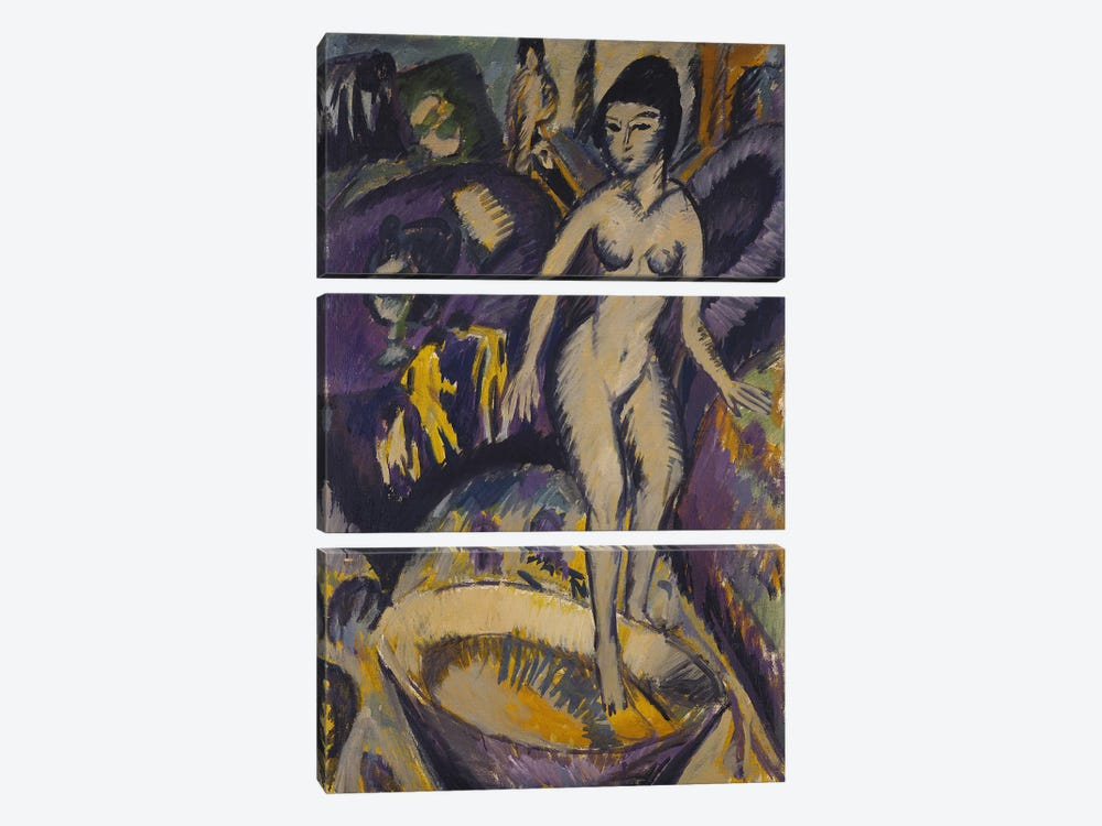 Female Nude with Hot Tub, 1912  by Ernst Ludwig Kirchner 3-piece Canvas Art