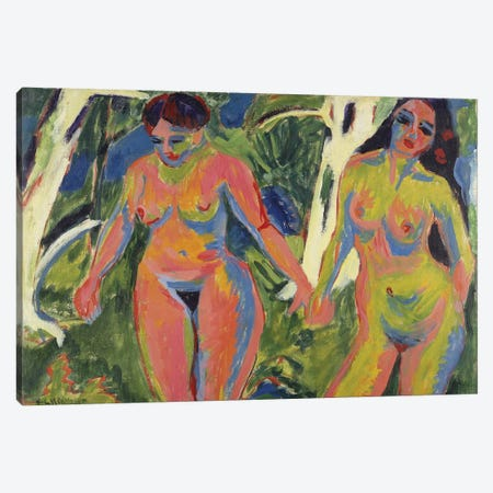 Two Nude Women in a Wood, 1909  Canvas Print #BMN5292} by Ernst Ludwig Kirchner Canvas Artwork
