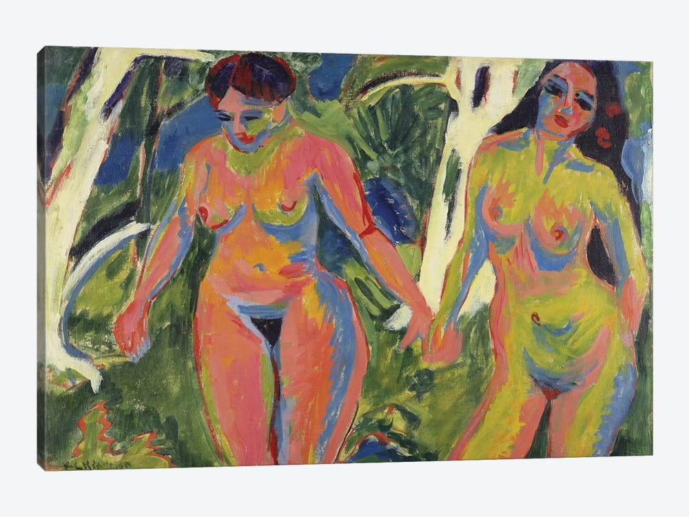 Two Nude Women in a Wood, 1909  by Ernst Ludwig Kirchner 1-piece Canvas Art Print