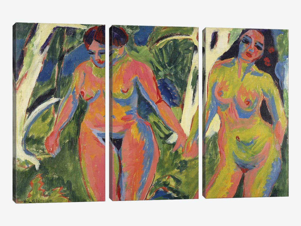 Two Nude Women in a Wood, 1909  by Ernst Ludwig Kirchner 3-piece Art Print
