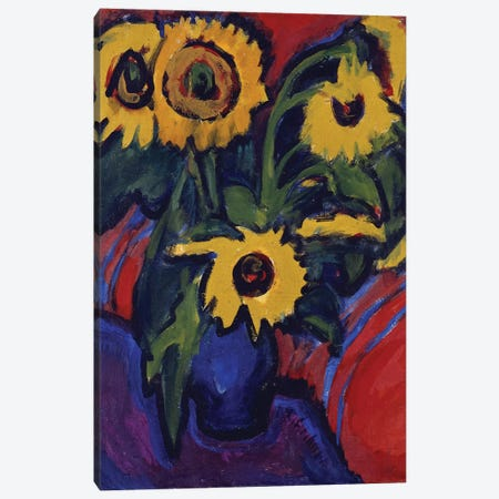 Sunflowers, 1909-18  Canvas Print #BMN5293} by Ernst Ludwig Kirchner Canvas Wall Art
