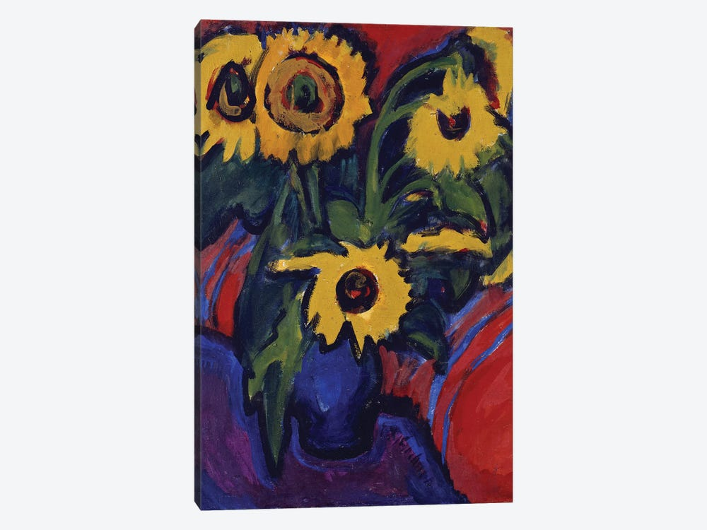Sunflowers, 1909-18  by Ernst Ludwig Kirchner 1-piece Canvas Wall Art