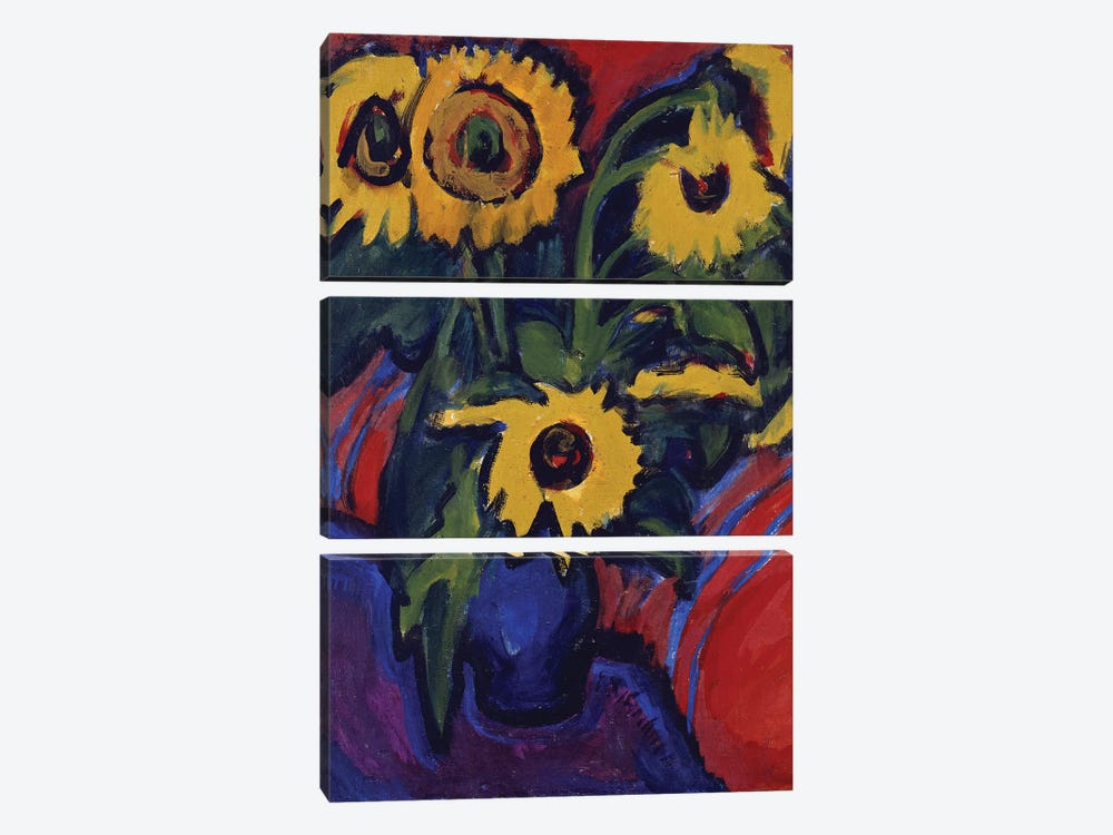 Sunflowers, 1909-18  by Ernst Ludwig Kirchner 3-piece Canvas Art
