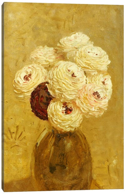 A Vase of Dahlias Canvas Art Print
