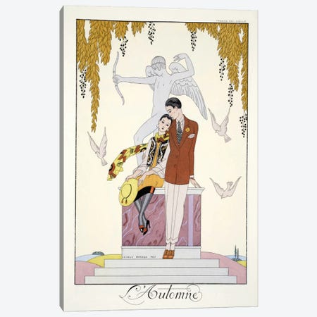 Autumn, from 'Falbalas & Fanfreluches, Almanach des Modes Présentes Canvas Print #BMN52} by Georges Barbier Canvas Print