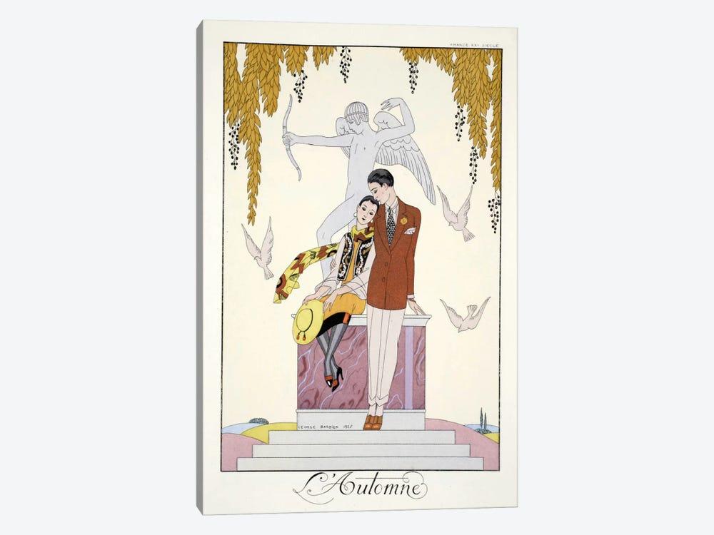 Autumn, from 'Falbalas & Fanfreluches, Almanach des Modes Présentes by George Barbier 1-piece Canvas Print