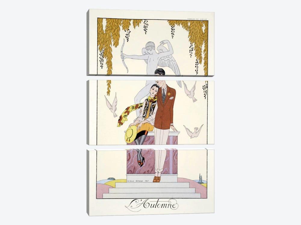 Autumn, from 'Falbalas & Fanfreluches, Almanach des Modes Présentes by George Barbier 3-piece Canvas Print