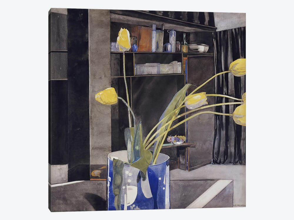 Yellow Tulips, c.1922-23 by Charles Rennie Mackintosh 1-piece Canvas Wall Art