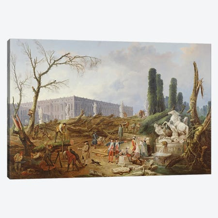 Tree Felling in the Garden of Versailles around the Baths of Apollo, 1775-77  Canvas Print #BMN530} by Hubert Robert Canvas Wall Art