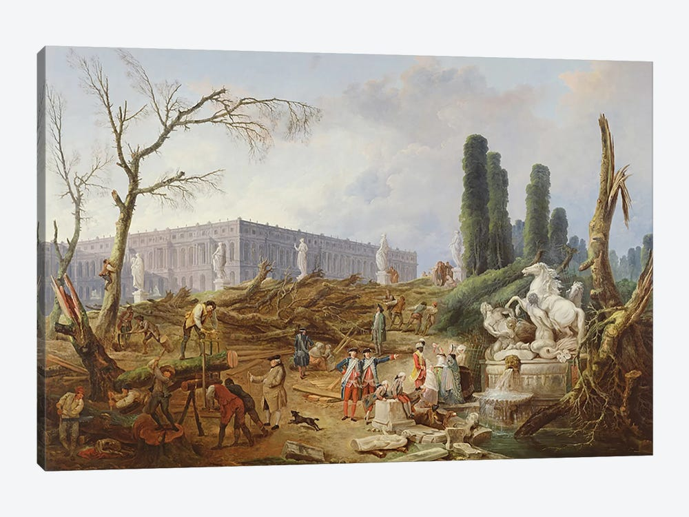 Tree Felling in the Garden of Versailles around the Baths of Apollo, 1775-77 by Hubert Robert 1-piece Canvas Wall Art