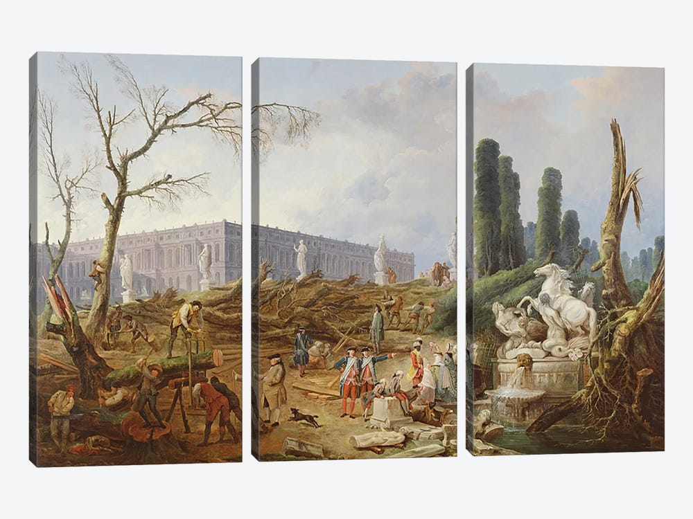 Tree Felling in the Garden of Versailles around the Baths of Apollo, 1775-77 by Hubert Robert 3-piece Canvas Artwork