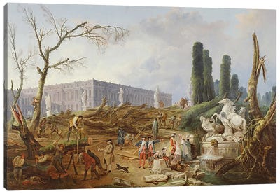 Tree Felling in the Garden of Versailles around the Baths of Apollo, 1775-77  Canvas Art Print