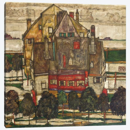 Single Houses  Canvas Print #BMN5315} by Egon Schiele Canvas Artwork