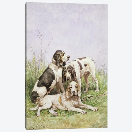 A Group of French Hounds Canvas Print #BMN531} by Charles Oliver de Penne Canvas Wall Art