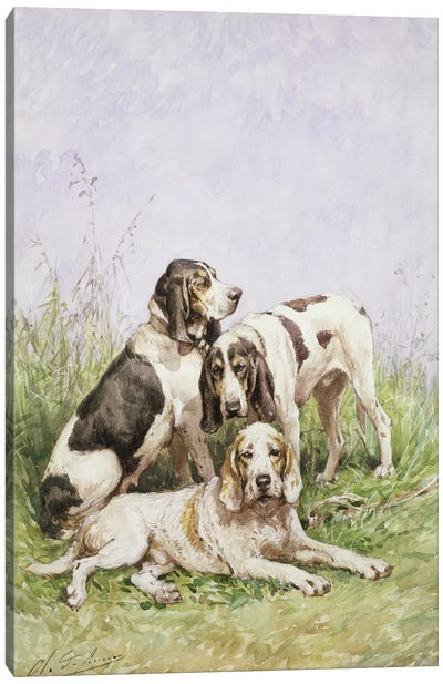 A Group of French Hounds Canvas Art Print