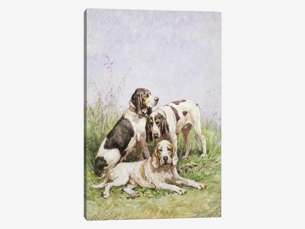 A Group of French Hounds by Charles Oliver de Penne 1-piece Canvas Art Print