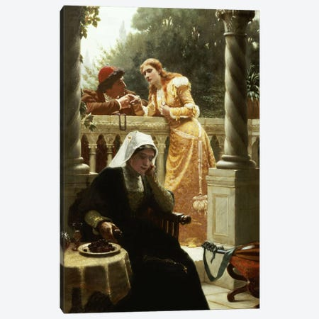 A Stolen Interview, 1888  Canvas Print #BMN5321} by Edmund Blair Leighton Canvas Artwork