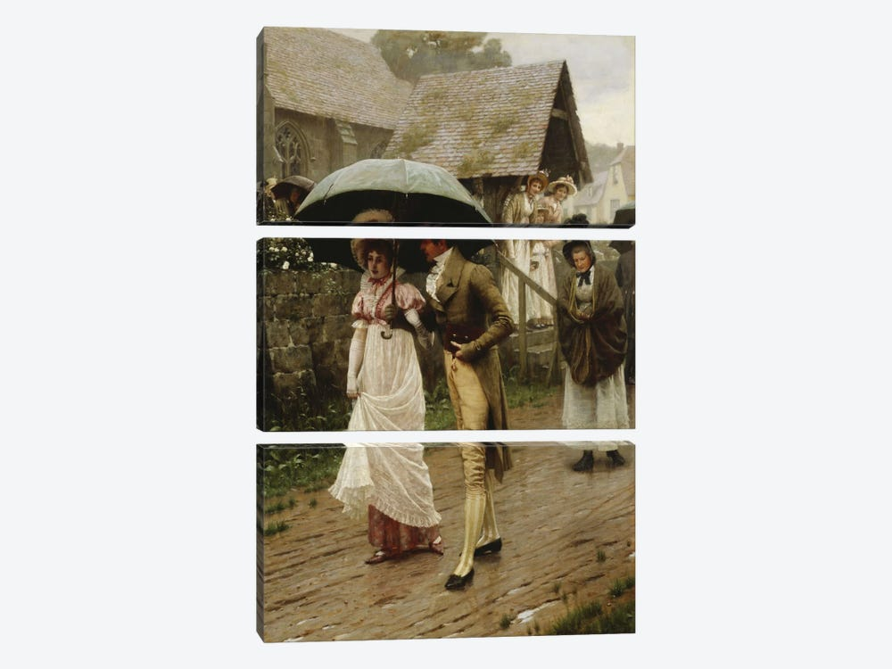 A Wet Sunday Morning, 1896  by Edmund Blair Leighton 3-piece Canvas Art Print