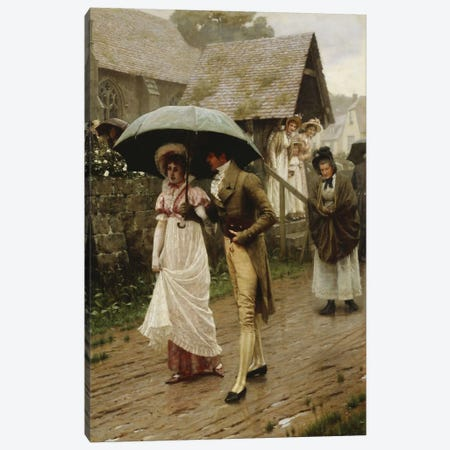 A Wet Sunday Morning, 1896  Canvas Print #BMN5324} by Edmund Blair Leighton Art Print