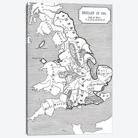 Map of Britain in 626, from The Northumbrian Kingdom 588 to 685 in 'A Short History of the English People' by J. R. Green, published 1893  Canvas Print #BMN5326} by English School Art Print